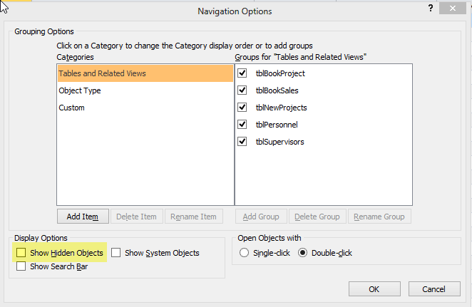 Show Hidden Tables in Microsoft Access