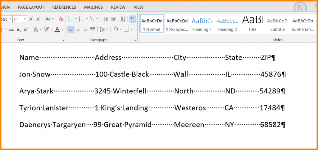 Microsoft Word Replace Multiple Spaces With A Tab Character