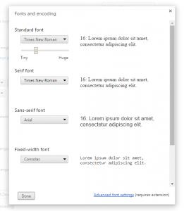 Chrome-font-settings