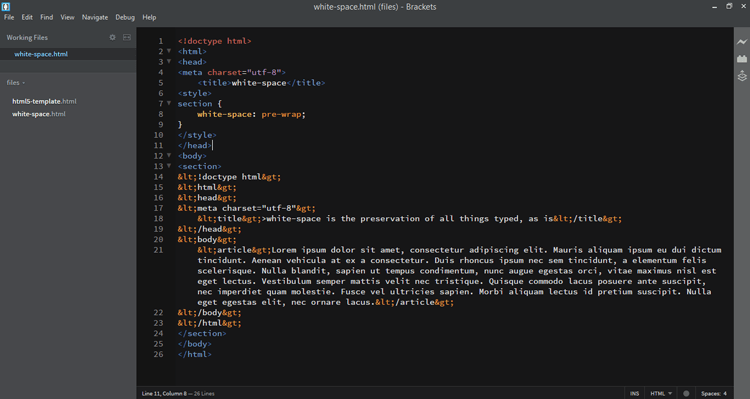 white-space-html-code