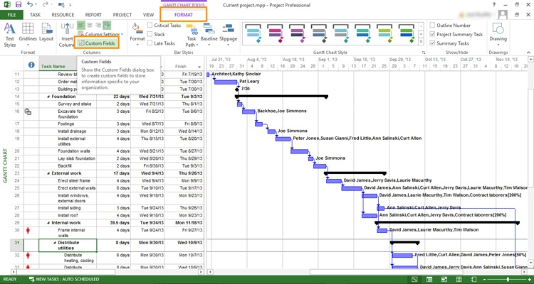 Microsoft Project: Formatting A Gantt Chart For Summary Task