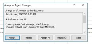 Accept-Reject dialog box