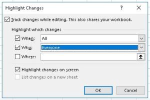 Highlight Changes dialog box
