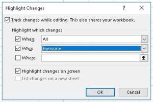 Highlight Changes dialog box