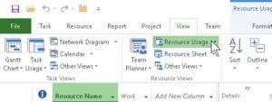 Resource Usage button