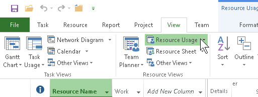 The resource usage view in project skillforge with the project open go to the view tab and click resource usage the view switches immediately then find the overallocated resources ccuart Images