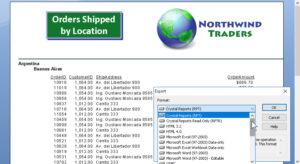 Export data dialog