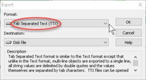 Export data Text