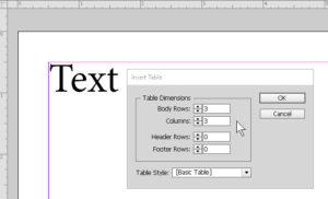 Table dialog box