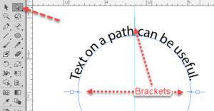 Type on a path brackets