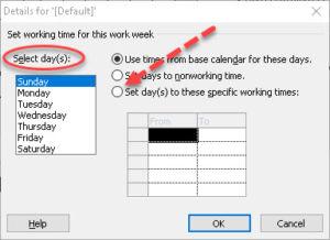 Resource calendar nonworking